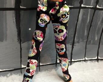 Heart Eyed Skull Print Pants for your Monster High Girl Doll