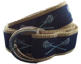 Lacrosse Belt / D-Ring Belt / Canvas Belt / Preppy Belt/ Men's Belt/ Women's Belt/ Children's Belt/ Light Blue Lacrosse D-Ring on Khaki