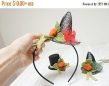 HALLOWEEN SALE Witch mini top hat Halloween black orange felted with felt wool fascinator pumpkin cap mesh Valentine New year Christmas cosp