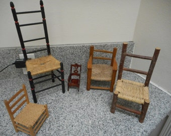 Handmade Miniature/Small Wooden Chair Collection - 5 chairs - Vintage