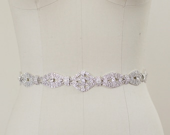 Bridal Gown Sash Belt, Crystal Sash, Wedding Dress Sash belt, Rhinestone Beaded Sash - KYRA