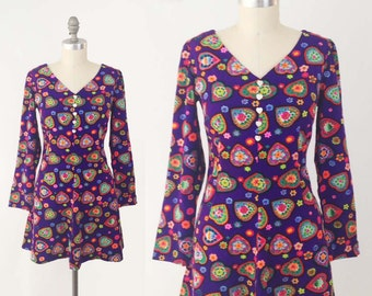 Vintage 60s Kitsch Mini Dress - 70s Cute Heart Print Purple A Line Day Dress - Long Sleeve Button Front Skater Dress - Size Small S