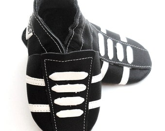 soft sole baby shoes leather infant sport black white 12 18 m bebes garcon cuir souple chaussons chaussures Krabbelschuhe ebooba SP-27-B-M-3
