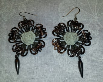 Silver Filigree White Rose Earrings