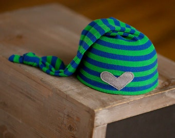 Newborn Boy Hat, Blue and Green Striped Hat with Gray Heart, Newborn Photography Prop, Upycled Newborn Hat, Newborn Hats, Newborn Props RTS