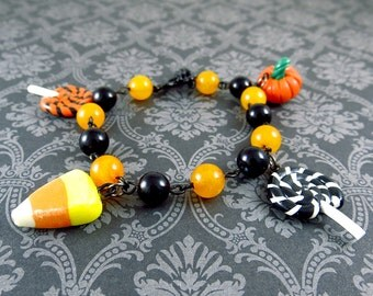 Halloween Charm Bracelet polymer clay pumpkin lollipop candy corn cute kawaii sweets jewelry