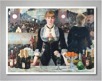 Bar at the Folies-Bergere, 1882  by Eduard Manet - Poster Paper, Sticker or Canvas Print