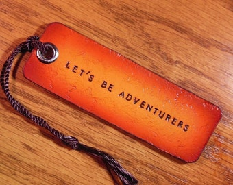 Custom Leather Luggage Tag,Key Fob, or Bookmark Personalize. Lets be adventurers 1 line