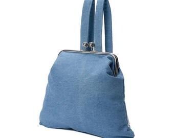 Denim Dream - Handmade light wash denim backpack with snap closure