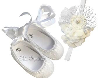 Baby crib shoes with headband, Toddler set, toddler headband, baby crib shoes, lace shoes, Christening, Baptism, photo prop, baby girls,