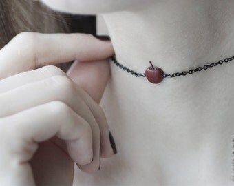 Red Apple Choker Necklace - Black Choker - Food Jewelry - Layering Necklace - Chokers Collar - Halloween