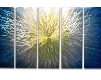Metal Art Wall Art Aluminum Decor Abstract Contemporary Modern Sculpture Hanging Zen Textured - Vortex Blue 48x79
