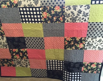 Handmade Throw Block Quilt, Moda Farmhouse