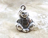 Sterling Silver Buddha Charm on a Sterling Silver Split Ring - 1385
