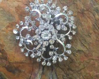Brilliant Clear Rhinestone Brooch - Silver Tone Setting - Prong Set with Open Backs - Perfect accessory