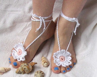 Ladies  Barefoot Sandals White crochet barefoot sandals Bridal Foot jewelry Beach wedding barefoot sandals - Lace shoes  wedding sandals