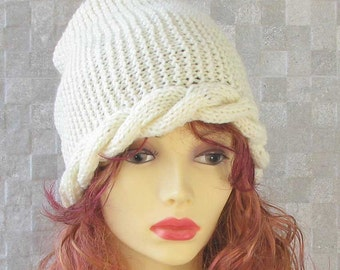 SALE Hat Hand knitted ladies slouchy beanie Off -  White Knit Hat Women Hat Slouchy Beanie