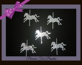 30 Silver Glitter Carousel Horse Die Cuts Punches For Scrapbook Cards Party Confetti Crafts Embellishments