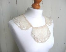 Vintage lace collar - Edwardian embroidered collar - antique lace collar - cream embroidered collar - cream gauze collar
