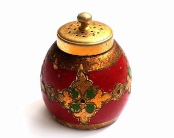 SALE Italian Florentine Salt shaker, Vintage Gold Red Salt shaker, Antique Kitchen Decor,Florentine Shabby Chic