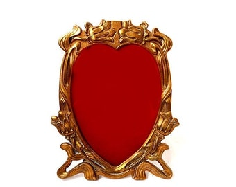 SALE Antique French Brass Picture Frame,Art Nouveau photo frame,Heart brass photo frame,Gold Heart and Flower Ornate Frame,wedding gift
