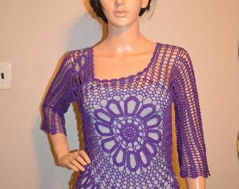 Sweet Purple Star  Hand Made Crochet Shirt / Custom made / Size 0 to 20