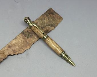 Skull Bourbon Barrel Pen with Antique Brass hardware