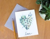 Watercolor Greeting Card. Inspirational Cards. Artist Cards. Love card. Watercolor Stationery. Cacti watercolor. Arizona love.cacti art