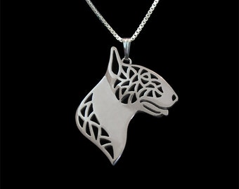 Bull Terrier - sterling silver pendant and necklace.