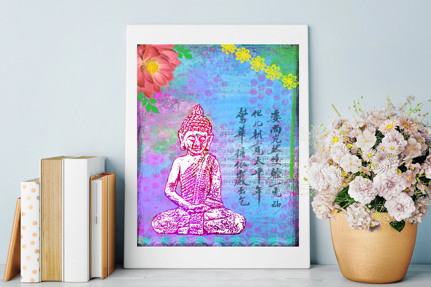 buddha art print inspirational art mixed media buddha. Black Bedroom Furniture Sets. Home Design Ideas