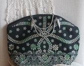 Handbag,brocade green and black handbag, Boho chic handbag