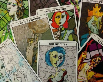Greek Mythology Tarot Deck, tarot cards, cubism-inspired, Mythological Abstractions