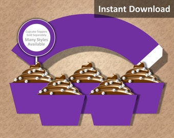 Solid Purple Cupcake Wrapper Instant Download, Party Decorations