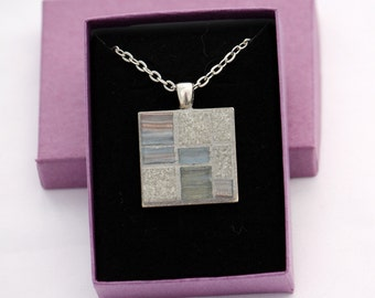 Silver-Finish Mosaic Pendant Necklace in Grey Glass