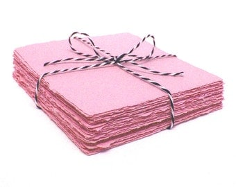Pink 4x4 handmade paper cardstock, recycled, deckle edge, 10 sheets