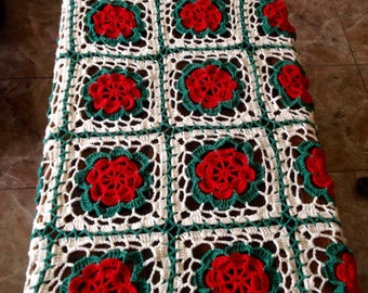 Handmade knit throw afghan blanket unique womens designer mandala lace flower crochet chair cover bed spread hippie lapghan granny square