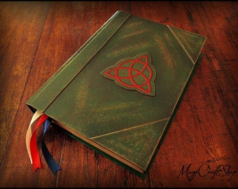 Diary Book of Shadows with triquetra various colors - BIG size 12.2x8.7 inches/31x22 cm - Customizable