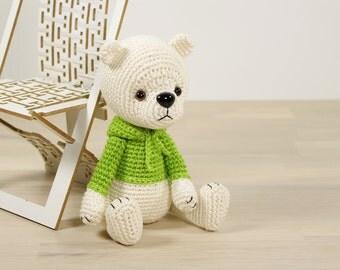 SALE -50% | 4-way jointed teddy bear in a hooded sweatshirt - Crocheted amigurumi teddy bear