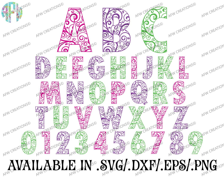 Digital Cut Files Swirl Ornament Letters Amp Numbers 2 SVG