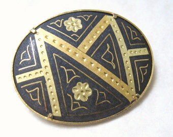 MID Century Vintage 1960s Black & Gold Floral Geometric DAMASCENE ENAMEL Brooch Pin.Edwardian Deco Nouveau