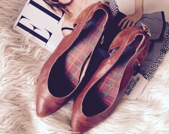 vintage brown leather pointed cut out court shoes