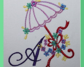 Alphabet Parasol Letters A to Z and Blank one Digitized Machine Embroidery Design