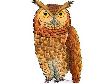 Woodland Nursery, Owl Print, Owl Decor, Wall decor, Owl Wall Art, Owl Picture, woodland animal art, forest animals, girls room, woodland art