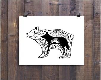 Animal Art, Bear Drawing, Nature Art, Wolf Illustration, Bear Art, Rabbit Art, Wall Art, Black and White Art, Spirit Animal, Woodland Art