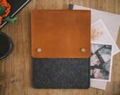 "MacBook Case, MacBook Sleeve, MacBook Bag, ""Courier"", leather, wool felt"