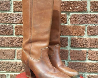 Vintage Brown Leather Zodiak Boots Size 9-10 Tall