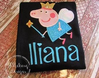 Peppa Pig Fairy Pig Family Birthday Custom Tee Shirt - Customizable -  Adults 142