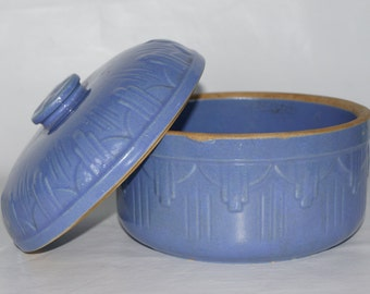 Ruckel's Stoneware Art Deco Periwinkle Blue Lid Pot Casserole Baking Vintage Retro Home Decor Inverted Pyramid Display