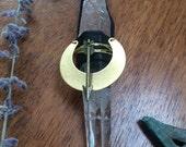 Artemis Necklace - Quartz, Leather, Brass, Crystal, Ooak, Goddess Jewelry