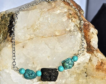 """Black Spinel & Turquoise 18"""" Sterling Silver Necklace"""